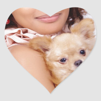 Tiny Chihuahua Shares Hair II Heart Sticker