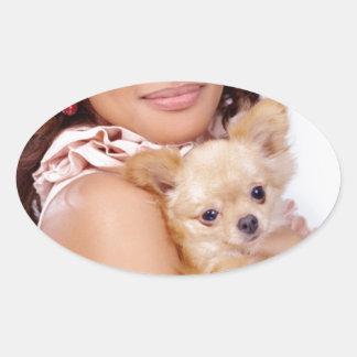 Tiny Chihuahua Shares Hair II Oval Sticker