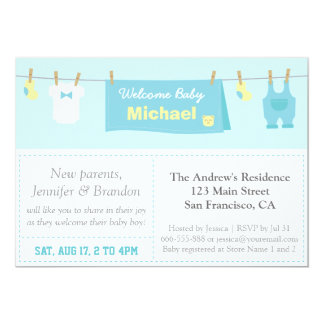 Tiny Clothes, Baby Boy Shower, Blue Chevron Card
