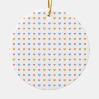 Tiny Colorful Hearts Pattern Pink Blue Yellow Ceramic Ornament