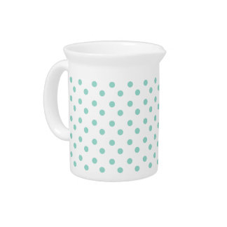 Tiny Cool Aqua Polka Dots on White Drink Pitcher