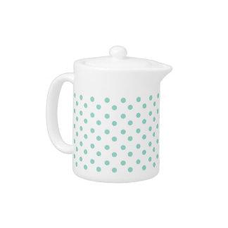 Tiny Cool Aqua Polka Dots on White Teapot
