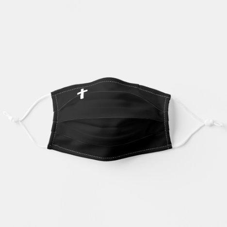Tiny Cross Symbol Plain Black Minimalist Cute Adult Cloth Face Mask