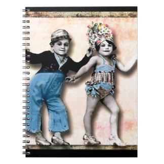 Tiny Dancers, vintage altered art Spiral Notebook