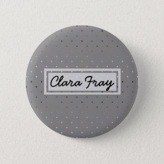 tiny faux rose gold grey polka dots pattern pinback button