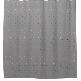 Tiny Faux Rose Gold Grey Polka Dots Pattern Shower Curtain