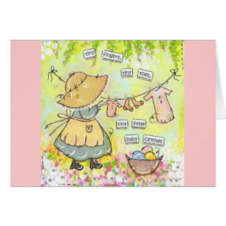 Tiny fingers tiny toes tiny little baby clothes! greeting card
