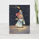 Tiny Flame - Cute Christmas Angel Mouse Art Holiday Card