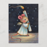 Tiny Flame - Cute Christmas Angel Mouse Art Holiday Postcard