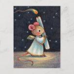 Tiny Flame: Cute Christmas Angel Mouse Art Holiday Postcard