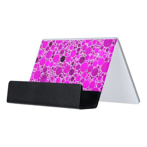 Tiny florescent pink bling abstract desk business card for Bling business card holder