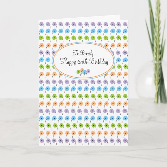 Tiny Flowers Happy 65th Birthday Card