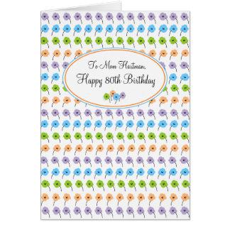 Tiny Flowers Happy 80th Birthday Card