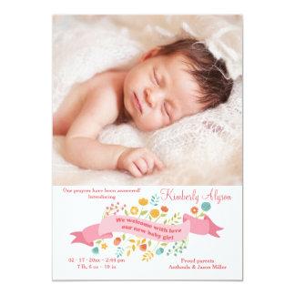 Tiny Flowers Photo Birth Announcement