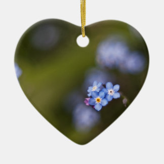Tiny forget me not flower Double-Sided heart ceramic christmas ornament
