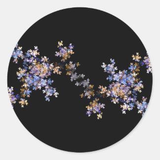 Tiny Fractal Art Flowers Classic Round Sticker