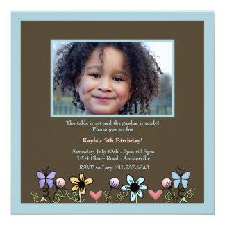 Tiny Garden Blue Photo Invitation