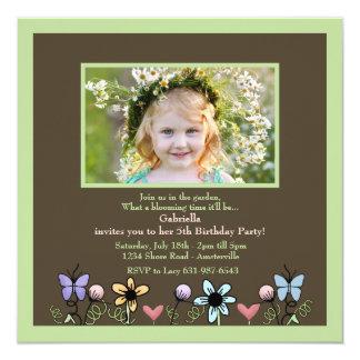Tiny Garden Green Photo Invitation