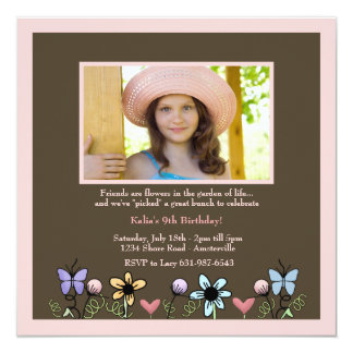 Tiny Garden Pink Photo Invitation