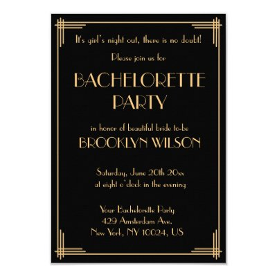 Art Deco Style Bachelorette Party Invitation – Invitation Bachelorette Party