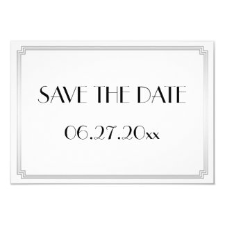 Tiny Gatsby Art Deco Silver Wedding Save The Date Card