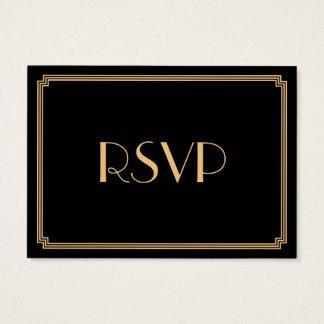 Tiny Great Gatsby Art Deco Black Wedding RSVP Business Card