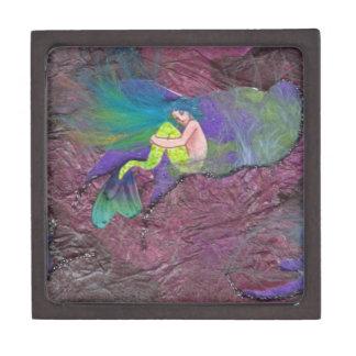 Tiny Green Mermaid mixed media Fantasy Art Box Premium Gift Box