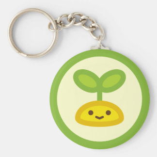 Tiny Green Sprout Basic Round Button Keychain