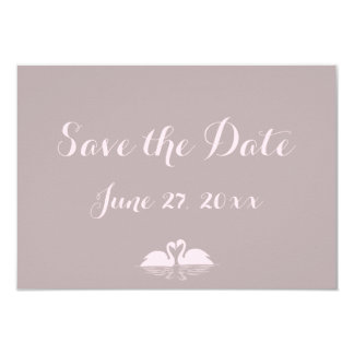 Tiny Grey Pink Swan Wedding Save The Date Cards