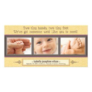 Tiny Hands, Tiny Feet Birth Announcement (yellow)