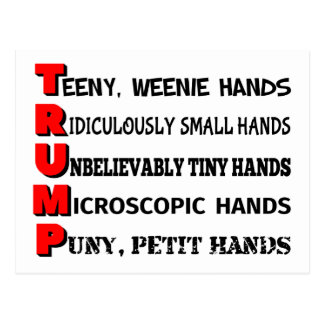 Tiny Hands Trump Post Card