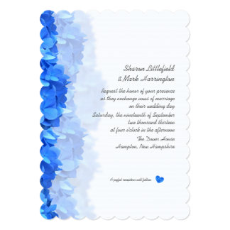 Tiny Heart Blue Hydrangea Wedding Invitation