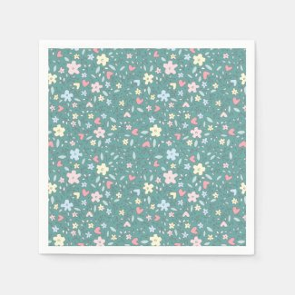 Tiny Hearts and Flowers Adorable Teal Napkins