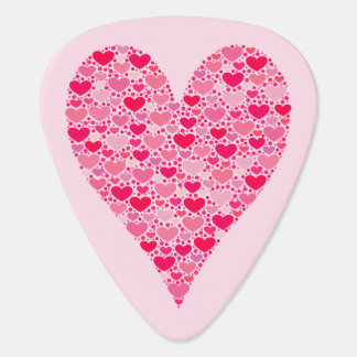 Tiny Hearts Big Heart on Rose Pink Guitar Pick