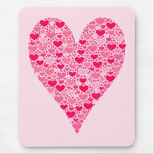 Tiny Hearts Big Heart on Rose Pink Mouse Pad
