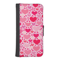 Tiny Hearts Big Heart on Rose Pink iPhone 5 Wallet Cases