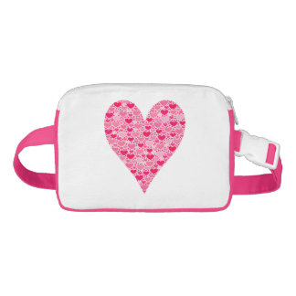 Tiny Hearts Big Heart on Rose Pink Valentines Waist Bag