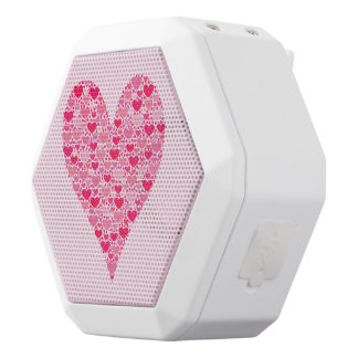 Tiny Hearts Big Heart on Rose Pink White Bluetooth Speaker
