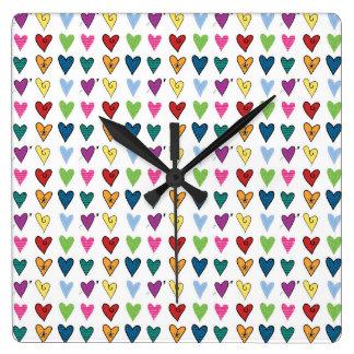 Tiny Hearts Square Wall Clocks