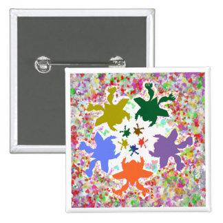 Tiny Hearts  -  Happy Aquatic Family Dance Pinback Button