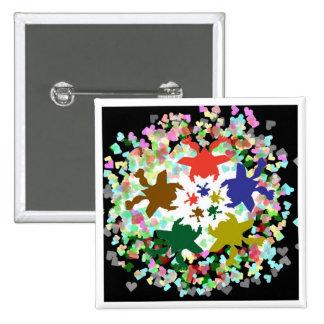 Tiny Hearts  -  Happy Aquatic Family Dance Pinback Buttons