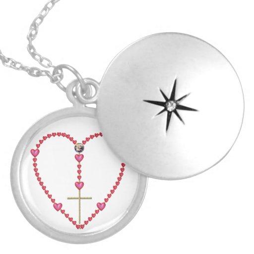 Tiny Hearts Heart-Shaped Rosary Necklace