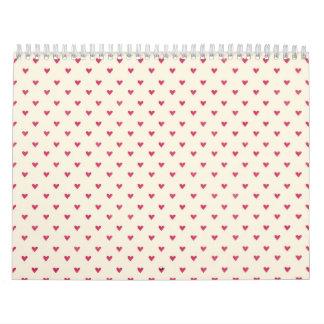 Tiny Hearts Little Red Dot Heart Print Wall Calendar