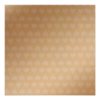 Tiny Hearts on Golden Silk Screen - Square Poster