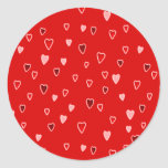 Tiny Hearts on Red Round Sticker