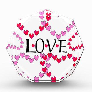 Tiny Hearts Pink Red LOVE Acrylic Award