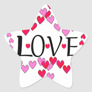 Tiny Hearts Pink Red LOVE Star Sticker