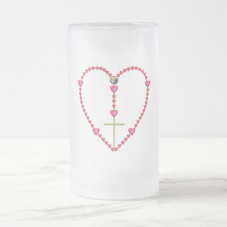 Tiny hearts Rosary Frosted Glass Beer Mug