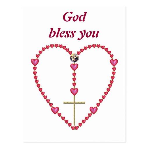 Tiny hearts Rosary Postcard