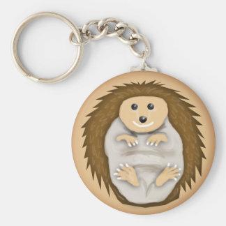 tiny hedgehog basic round button keychain